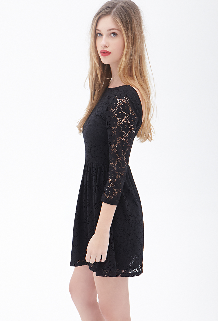 Lyst Forever 21 Floral Crochet Fit Amp Flare Dress In Black