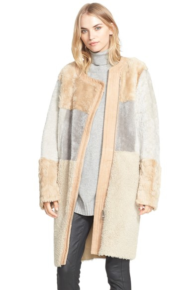 Belstaff 'Corra' Genuine Shearling Coat in Natural | Lyst