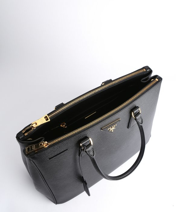 Prada Black Saffiano Leather Top Handle Bag in Black | Lyst
