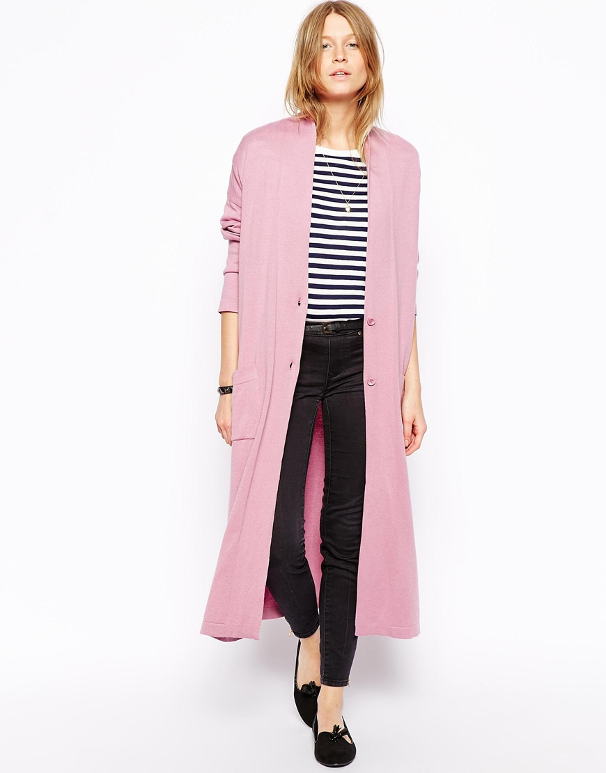 Asos Longline Oversize Cardigan in Pink | Lyst