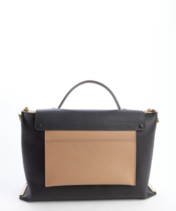 Chlo¨¦ Black And Tan Leather Front Flap \u0026#39;Clare\u0026#39; Convertible Tote ...