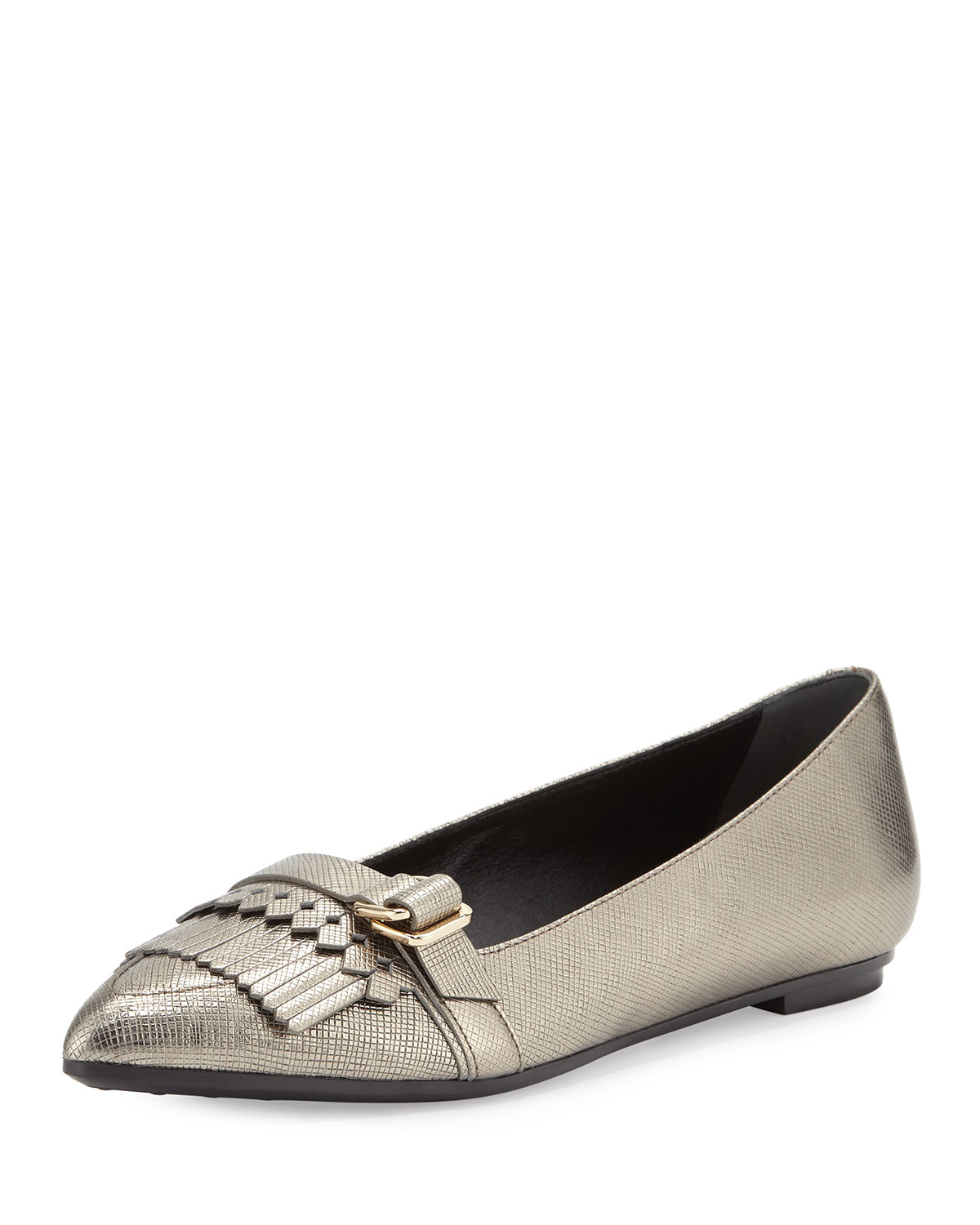 with paypal free shipping Tod's Metallic Leather Flats buy cheap tumblr 4paUe