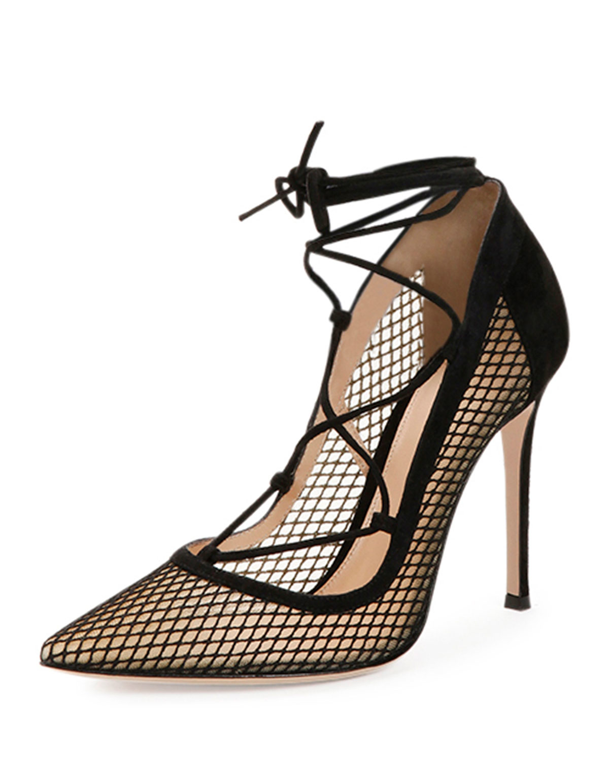 ff5828bf2266 Lyst - Gianvito Rossi Mesh Lace-Up Point-Toe Pump in Black