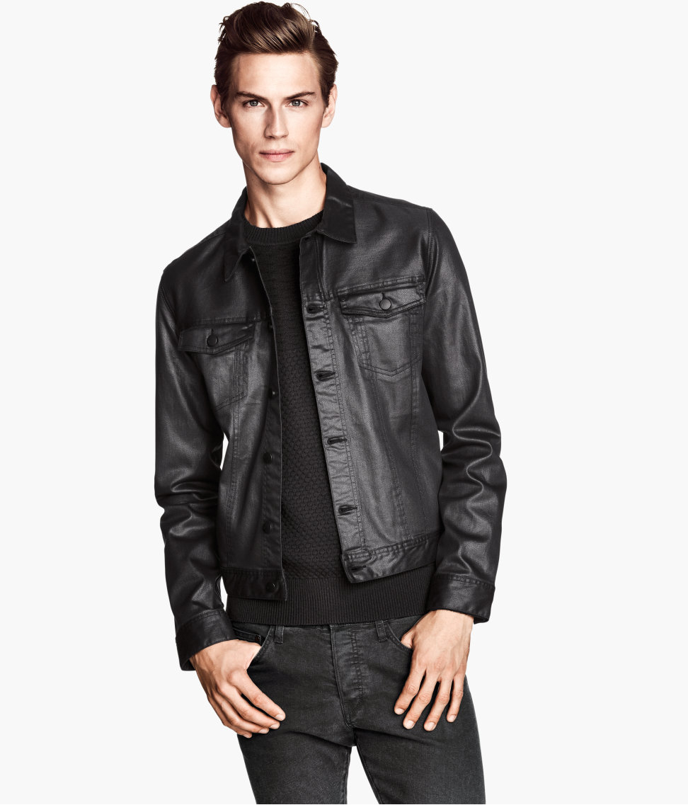 H&ampm Denim Jacket in Black for Men | Lyst