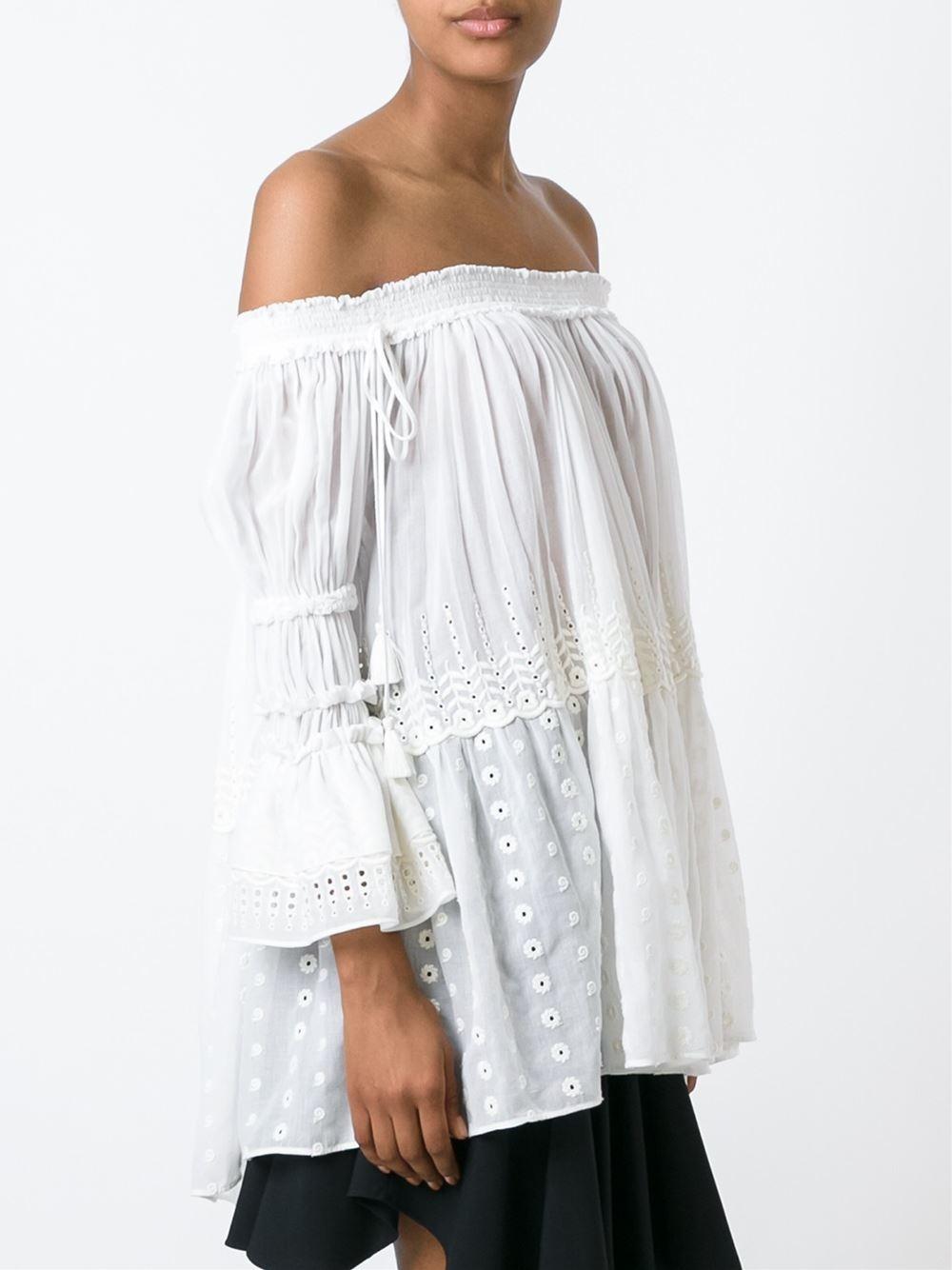chlo off shoulder blouse in white lyst. Black Bedroom Furniture Sets. Home Design Ideas