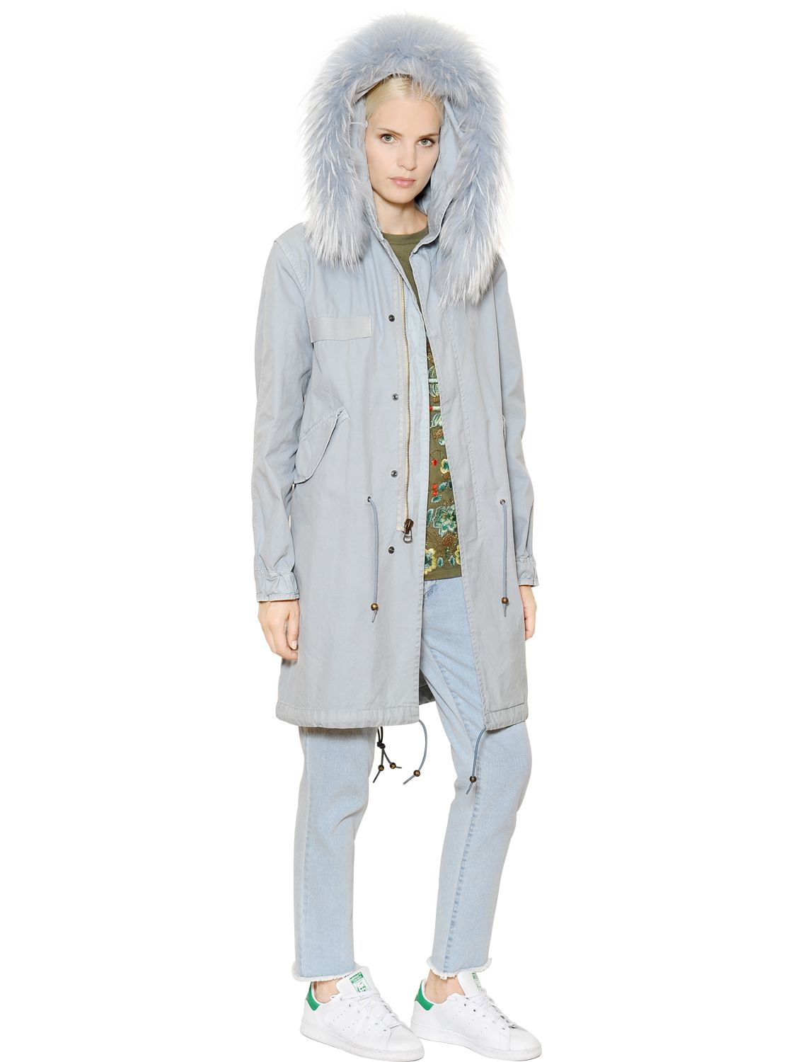 Mr & mrs italy Cotton Canvas Parka With Murmansky Fur in Blue | Lyst