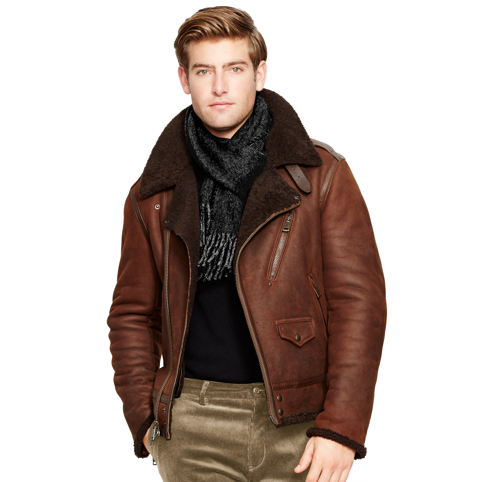 polo ralph lauren shearling biker jacket in brown for men. Black Bedroom Furniture Sets. Home Design Ideas