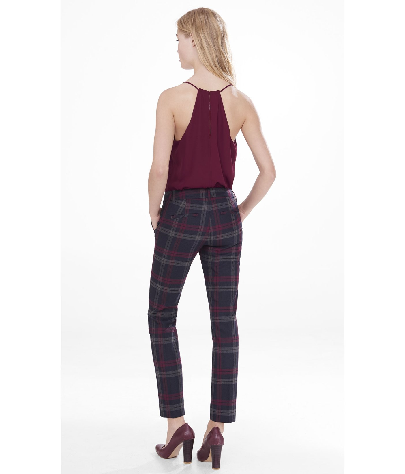 Express Berry Plaid Columnist Ankle Pant in Purple | Lyst