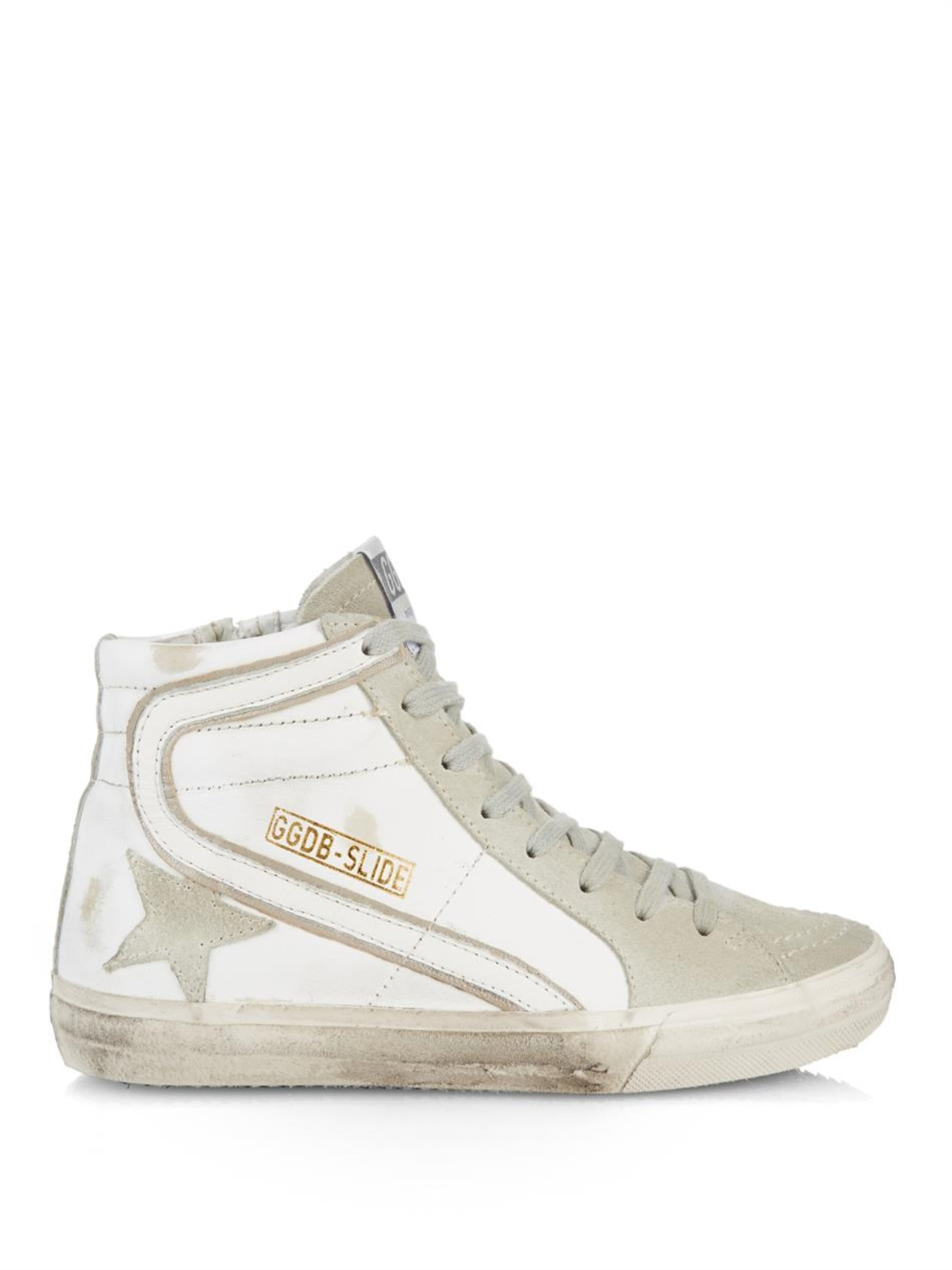 golden goose deluxe brand slide high top leather sneakers in white lyst. Black Bedroom Furniture Sets. Home Design Ideas