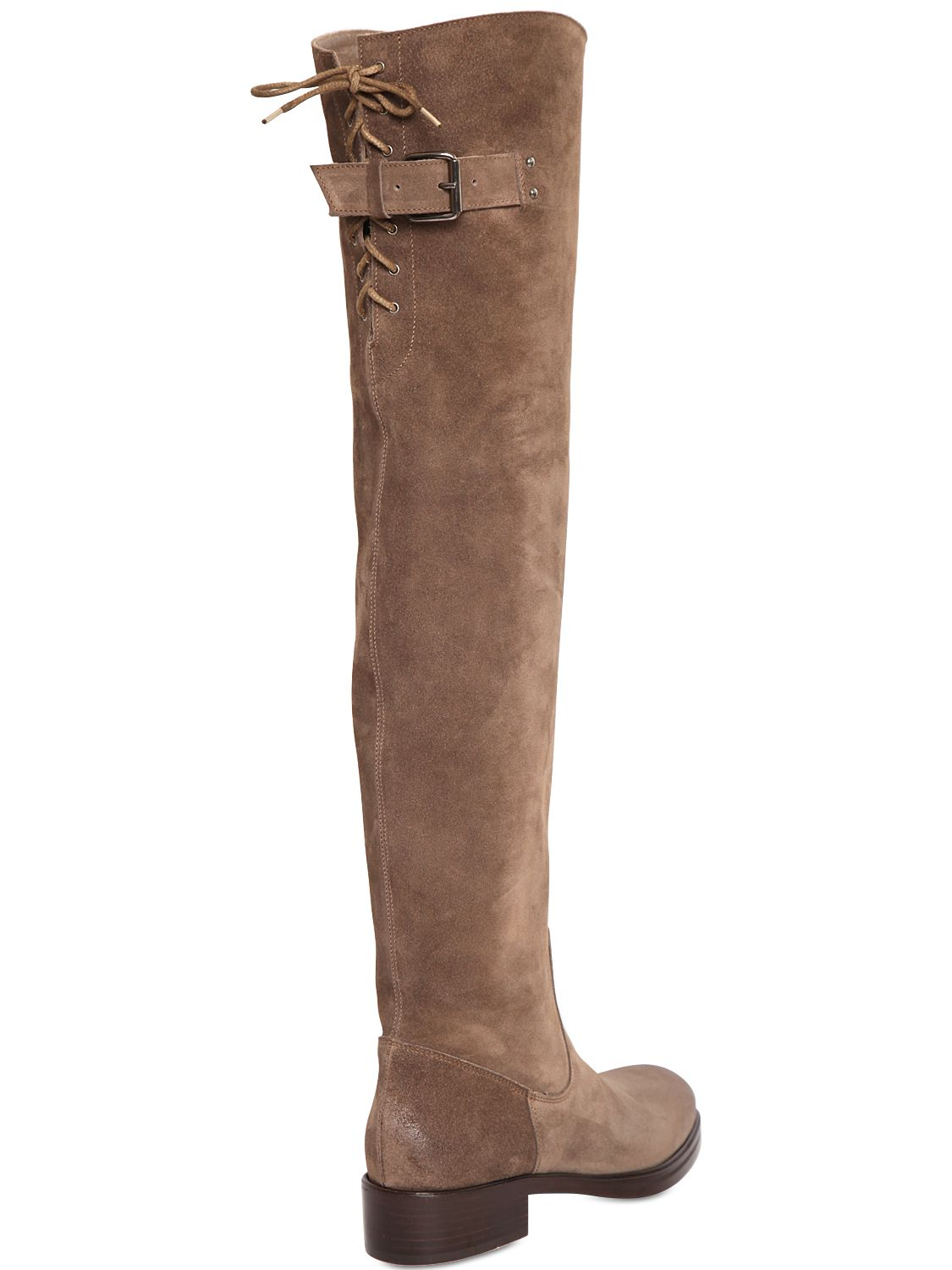 strategia 30mm suede the knee boots in brown lyst