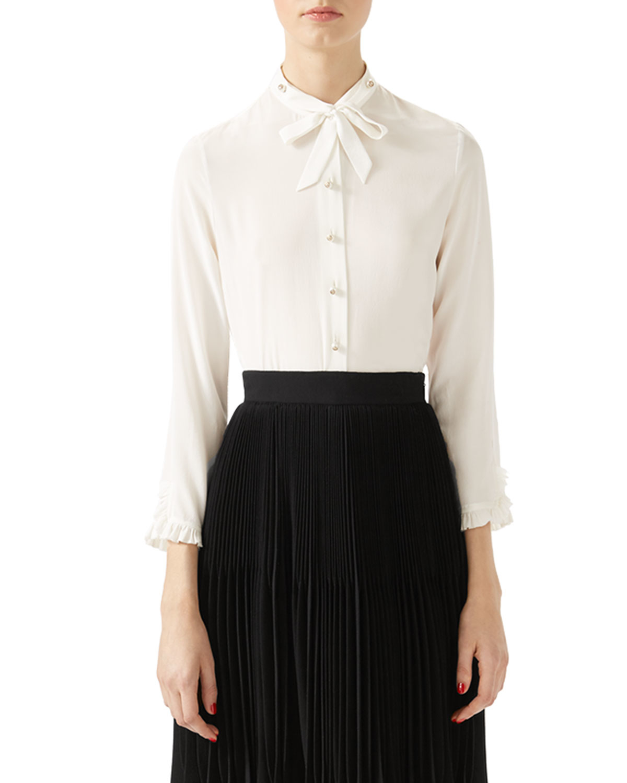 Gucci Silk Button Down Shirt In White Lyst