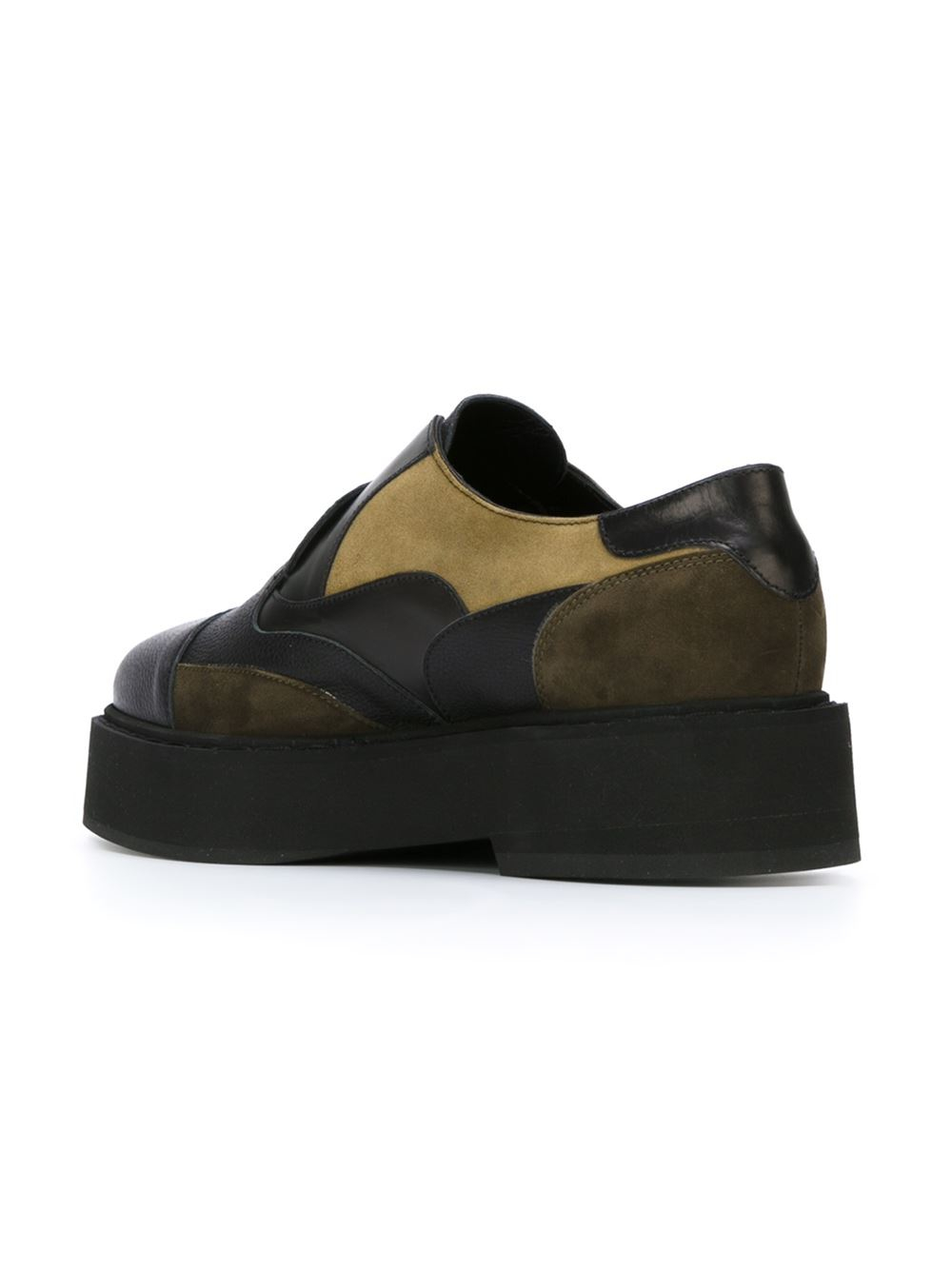 mcqueen panelled slip on shoes in yellow black