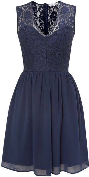 Glamorous Lace V Neck Fit And Flare Dress In Blue Navy