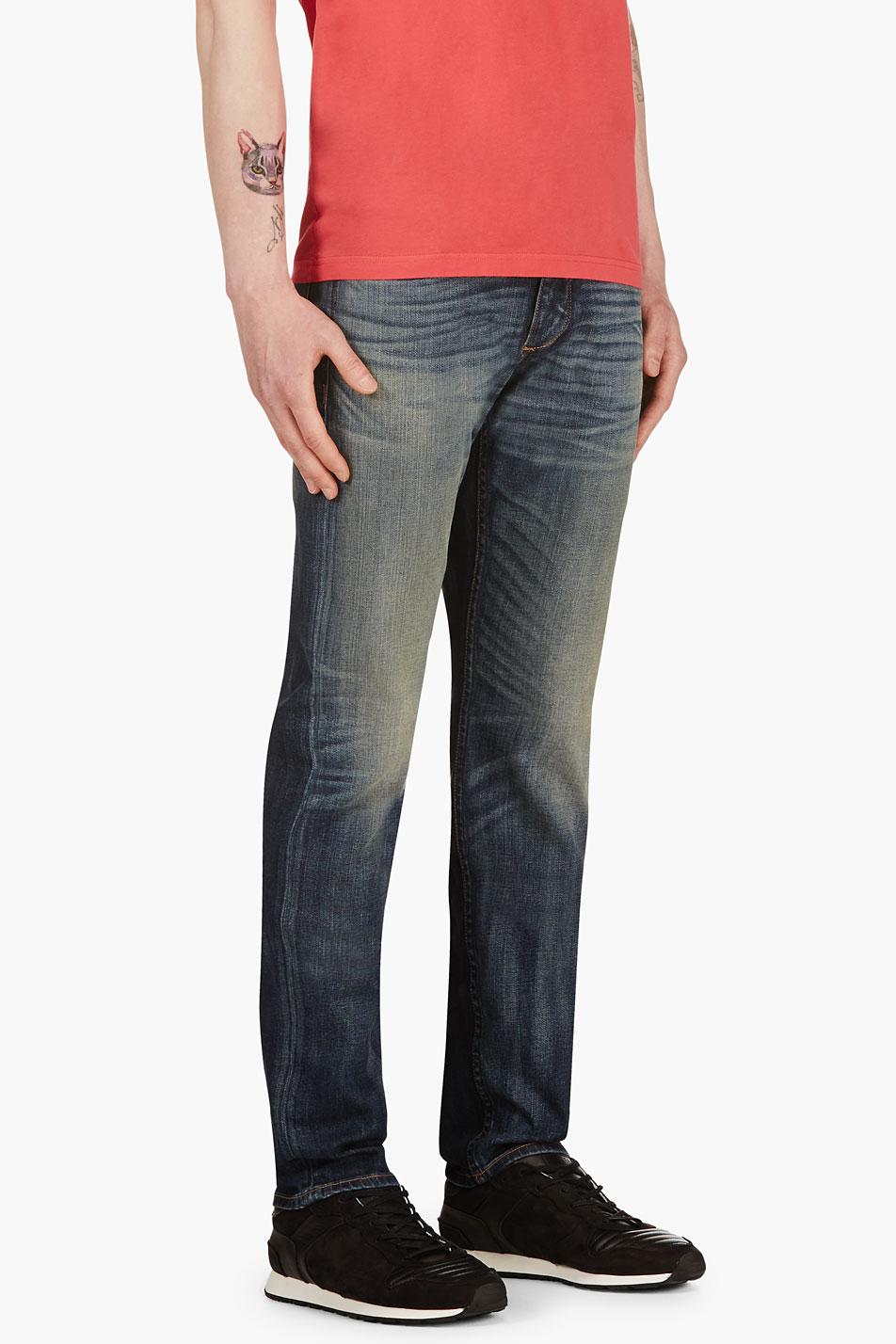 lyst rag bone blue low rise jay skinny jeans in blue for men. Black Bedroom Furniture Sets. Home Design Ideas