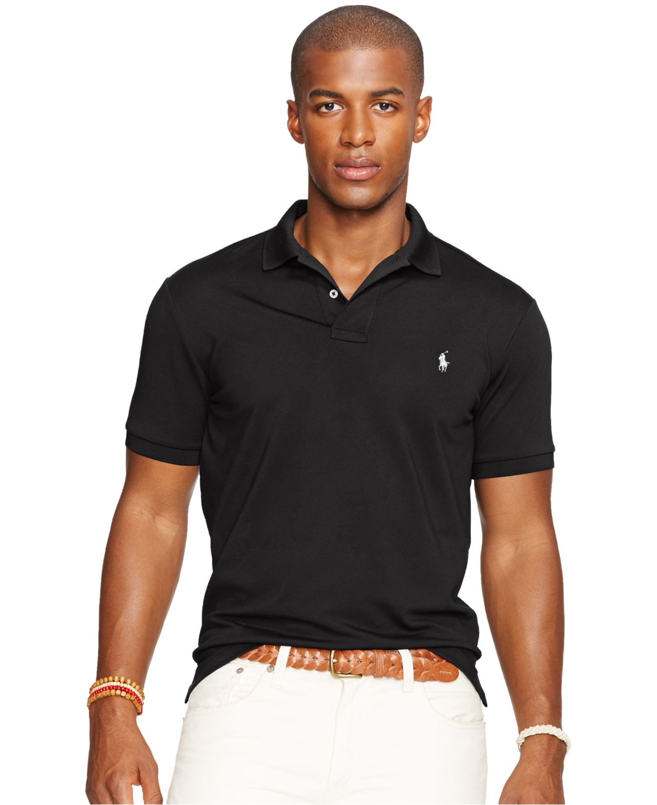 polo ralph lauren performance mesh polo shirt in black for men lyst. Black Bedroom Furniture Sets. Home Design Ideas