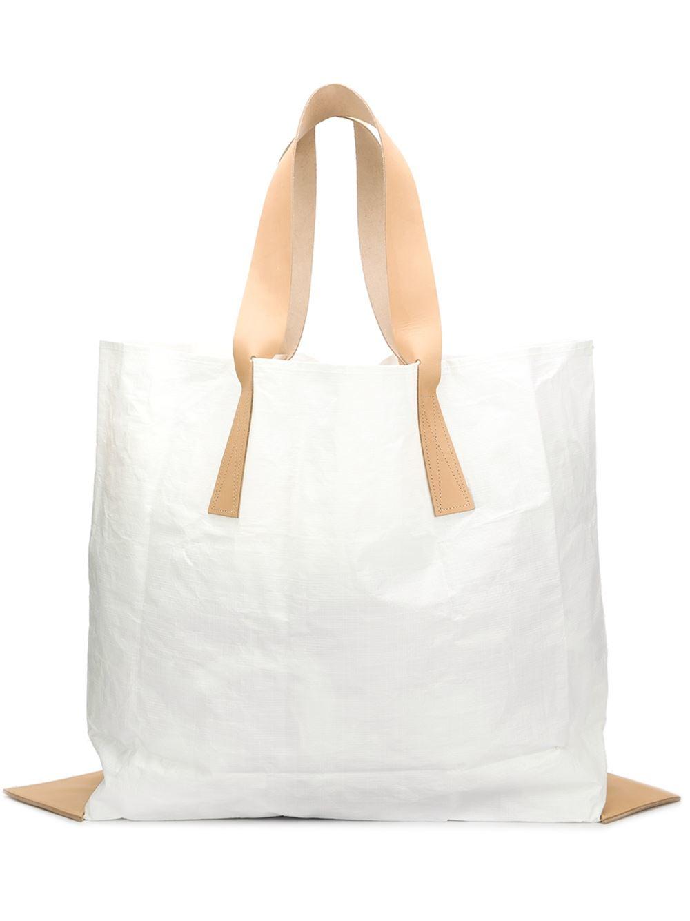 Lyst Hender Scheme Handles Vinyl Slouchy Tote Bag In White