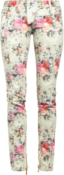 Balmain Printed Midrise Skinny Jeans in White (multicolored)