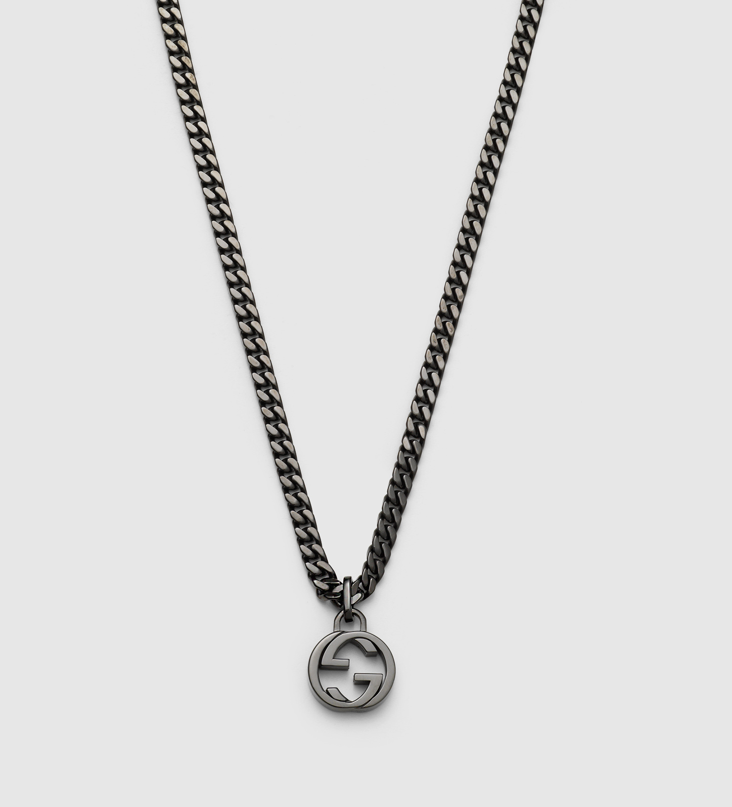 Gucci Silver Necklace With Interlocking G Pendant In