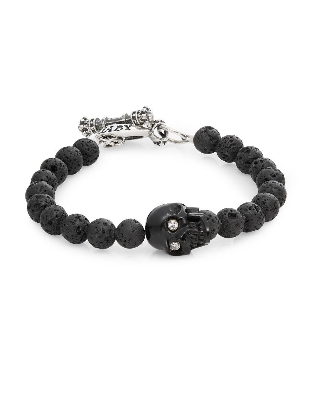 King Baby Studio Lava Rock Skull Bracelet In Black For Men