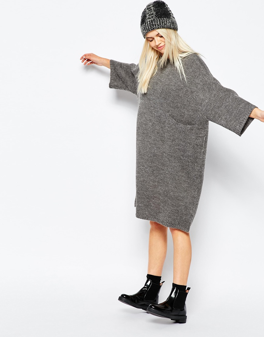 ceabf6cbc74 Monki Oversized Knitted Dress With Pocket Detail in Gray - Lyst