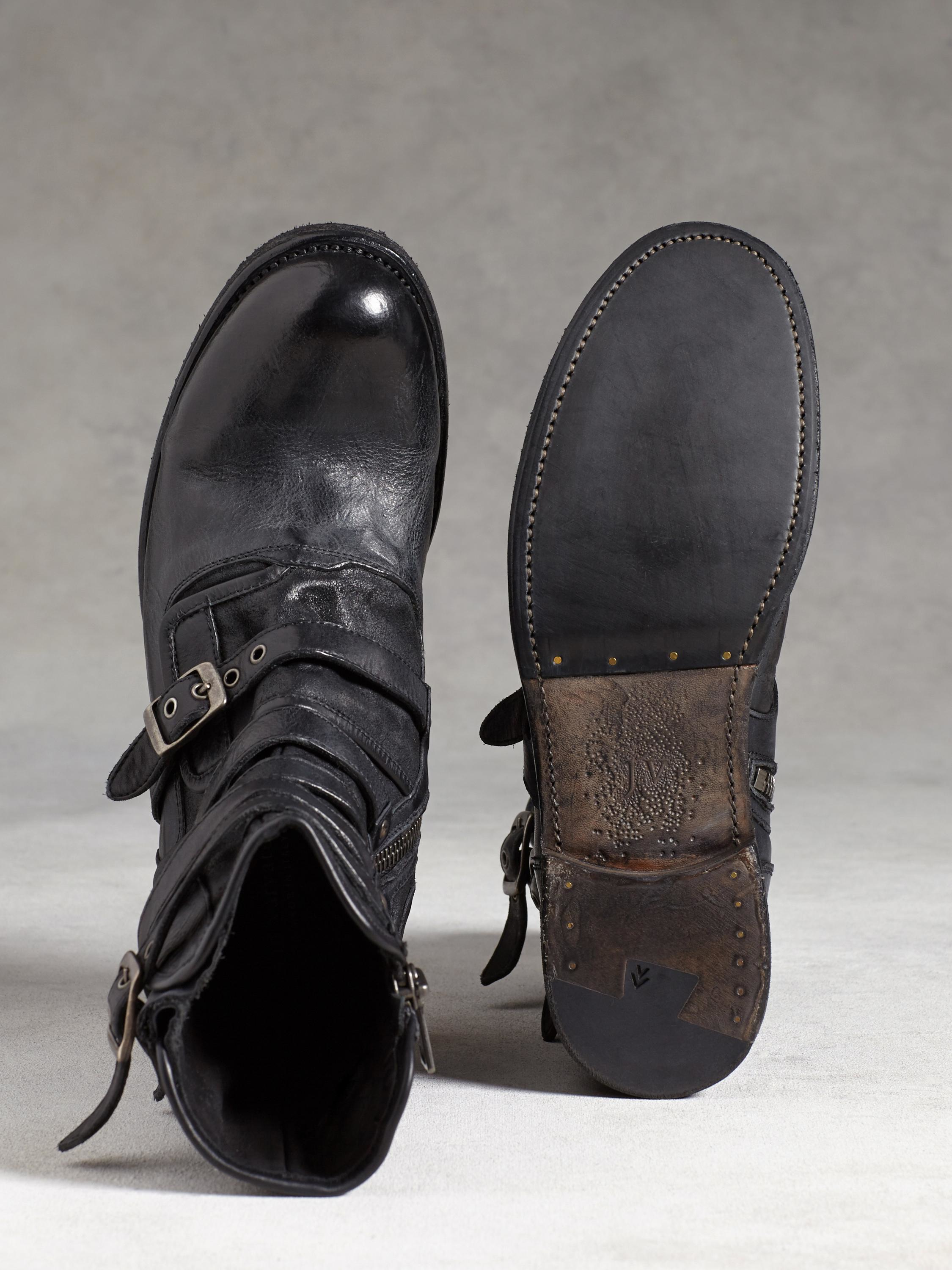John Varvatos Engineer Triple Buckled Boots In Gray For