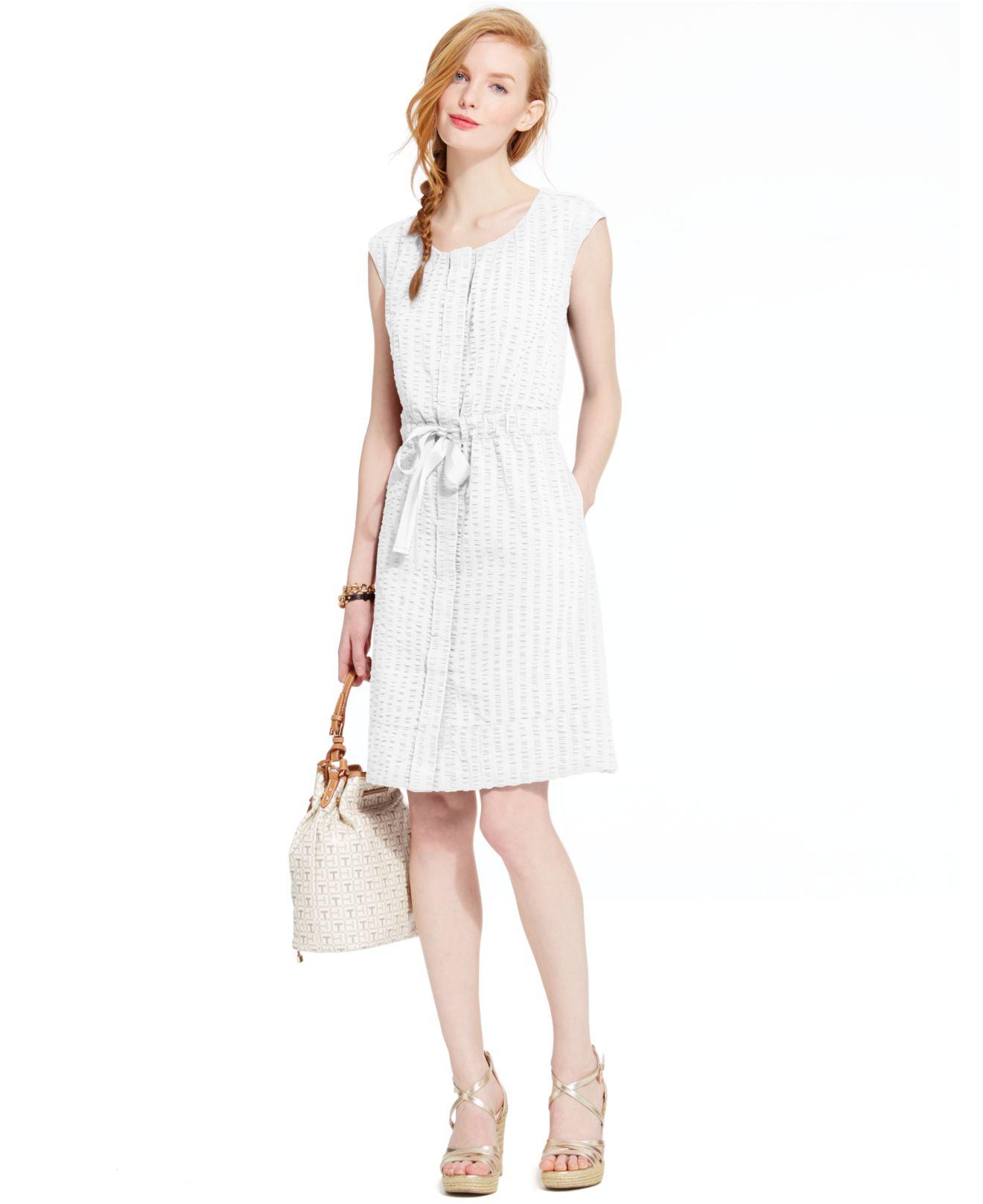 Tommy Hilfiger Seersucker Tie Waist Shirt Dress In White