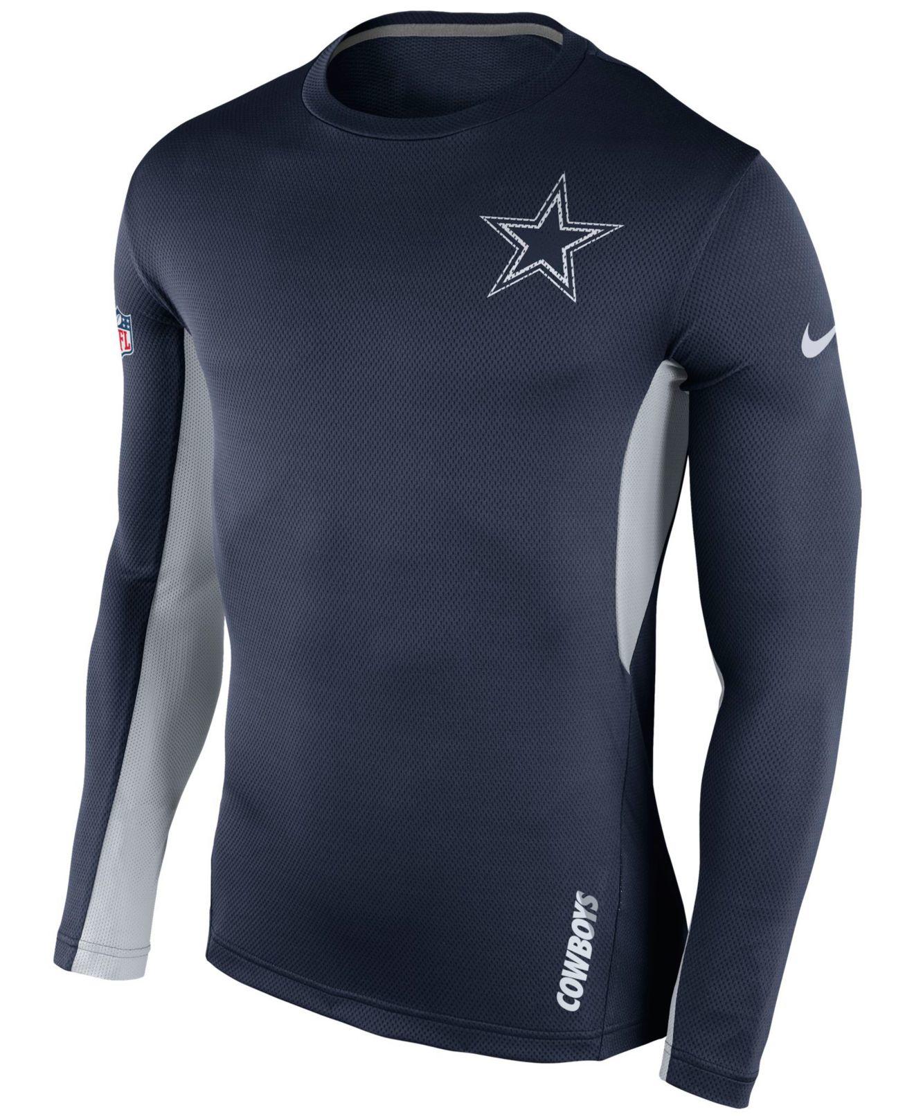 Nike men 39 s long sleeve dallas cowboys vapor t shirt in for T shirt screen printing dallas tx