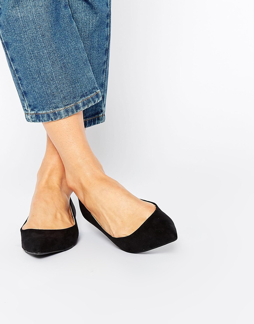 Oasis Black Flat Pointed Shoes