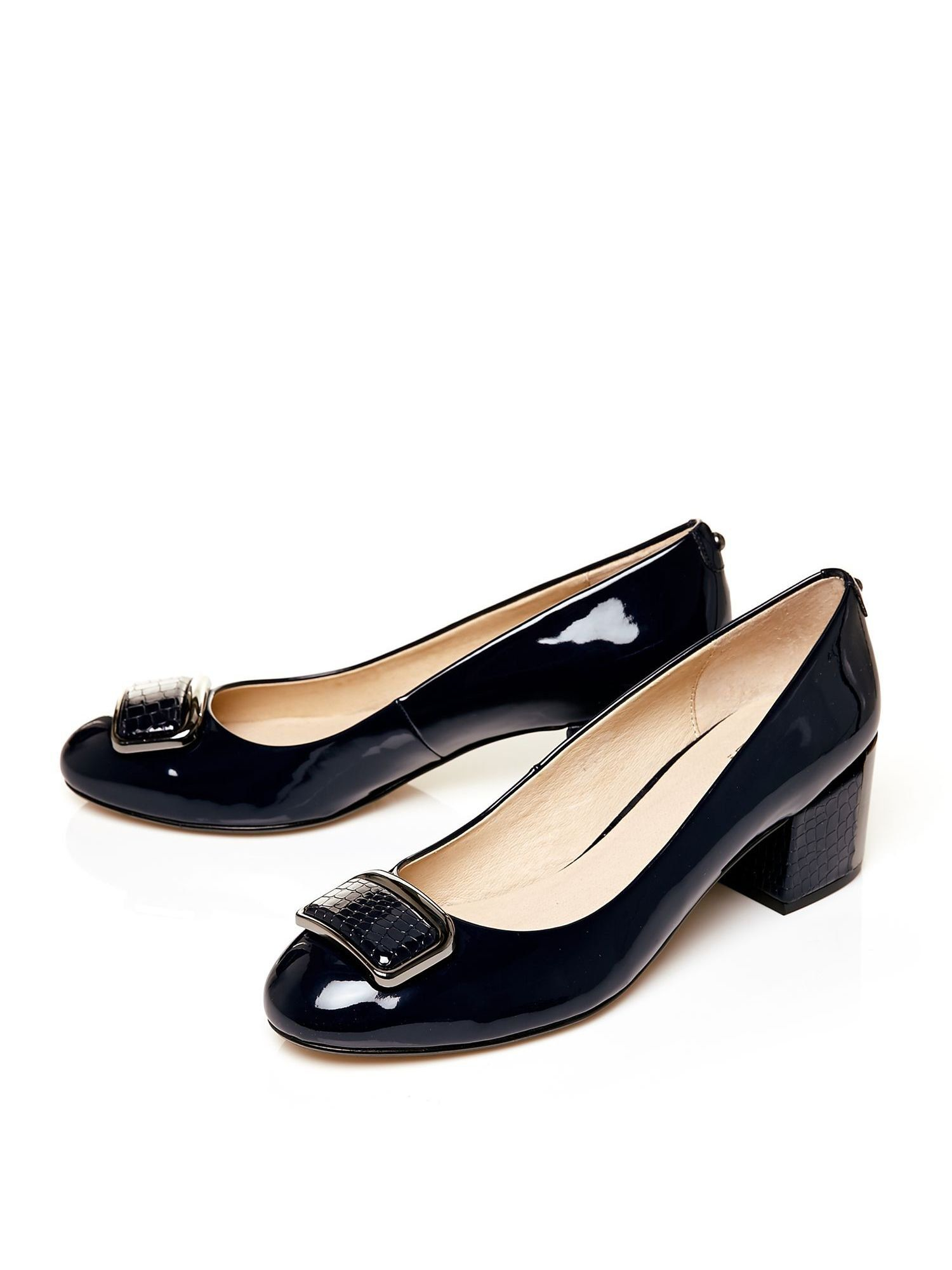 Block Heel Navy Blue Wedding Shoes