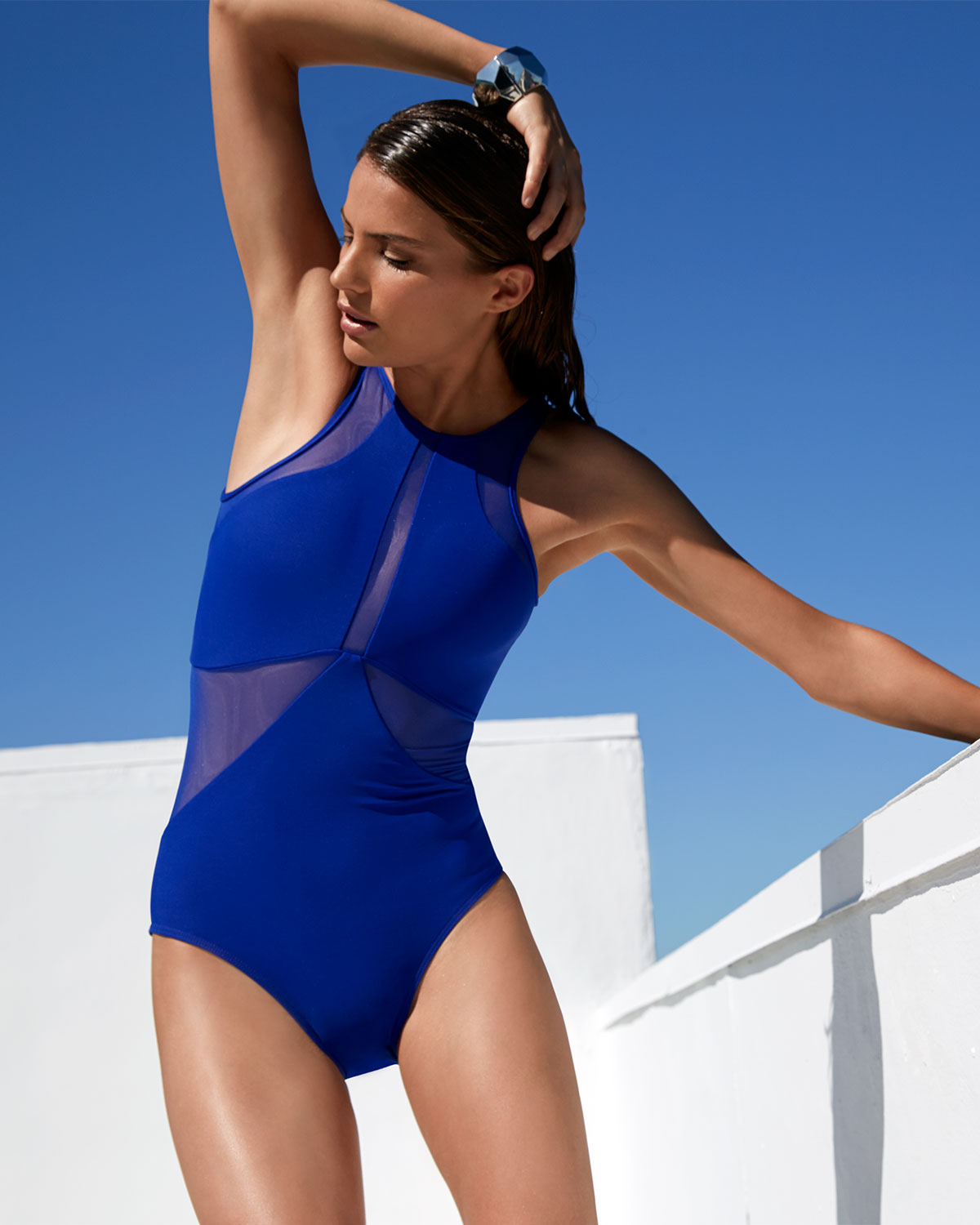 7e6a7577c0186 Jets by Jessika Allen High-Neck One-Piece Swimsuit W/ Mesh Inserts ...