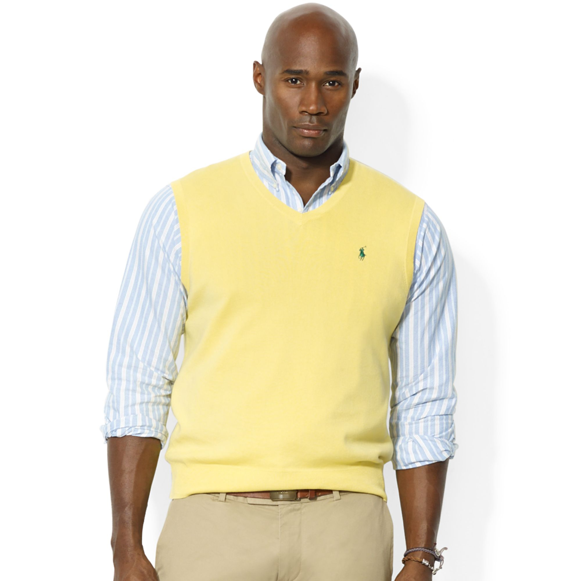 Ralph lauren Polo Big and Tall V Neck Pima Cotton Vest in Yellow ...