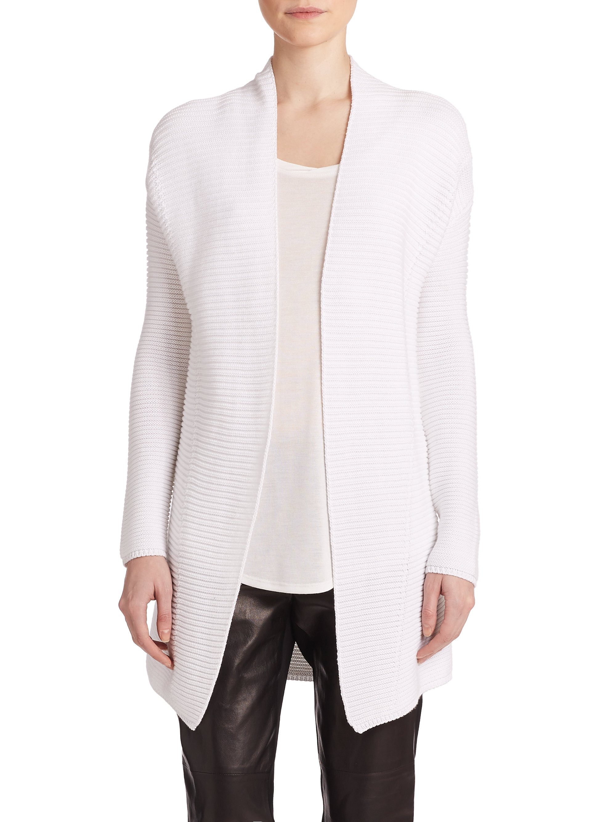 Vince Ribbed Cotton Cardigan in Natural | Lyst