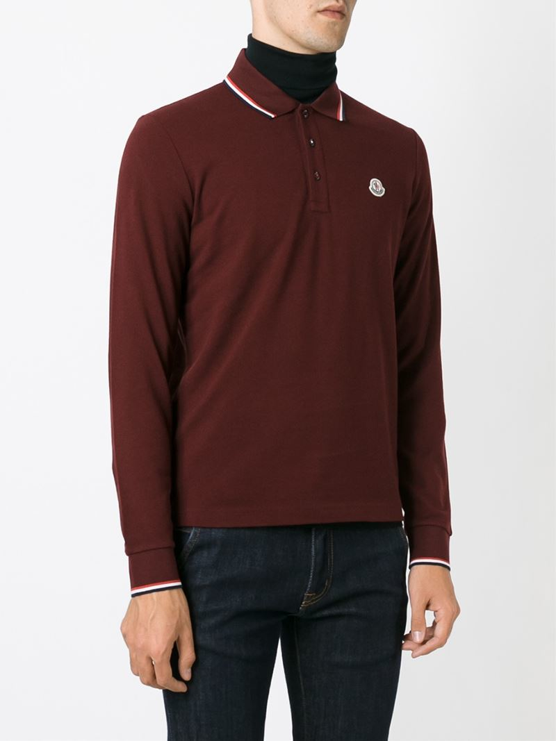 969bc20d5 Moncler Long Sleeve Polo Shirt in Red for Men - Lyst
