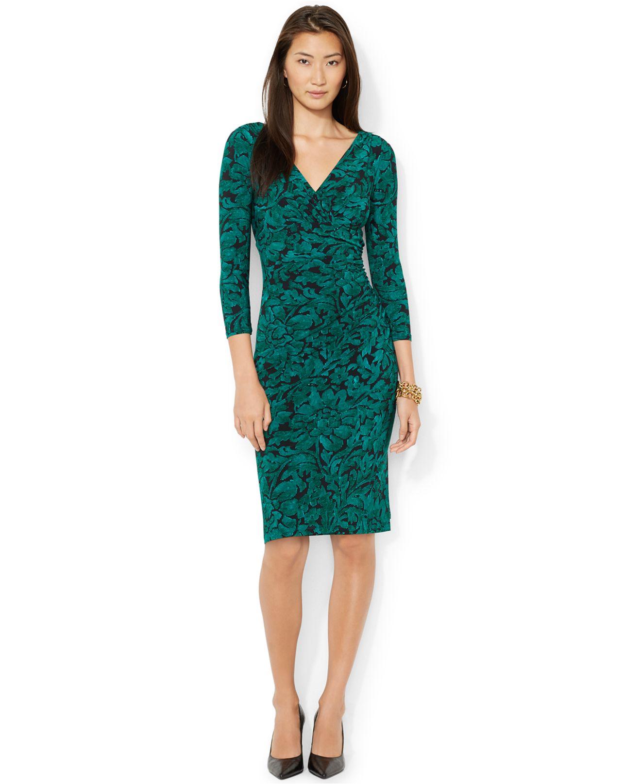 Lyst Lauren By Ralph Lauren Floral Print Faux Wrap Dress