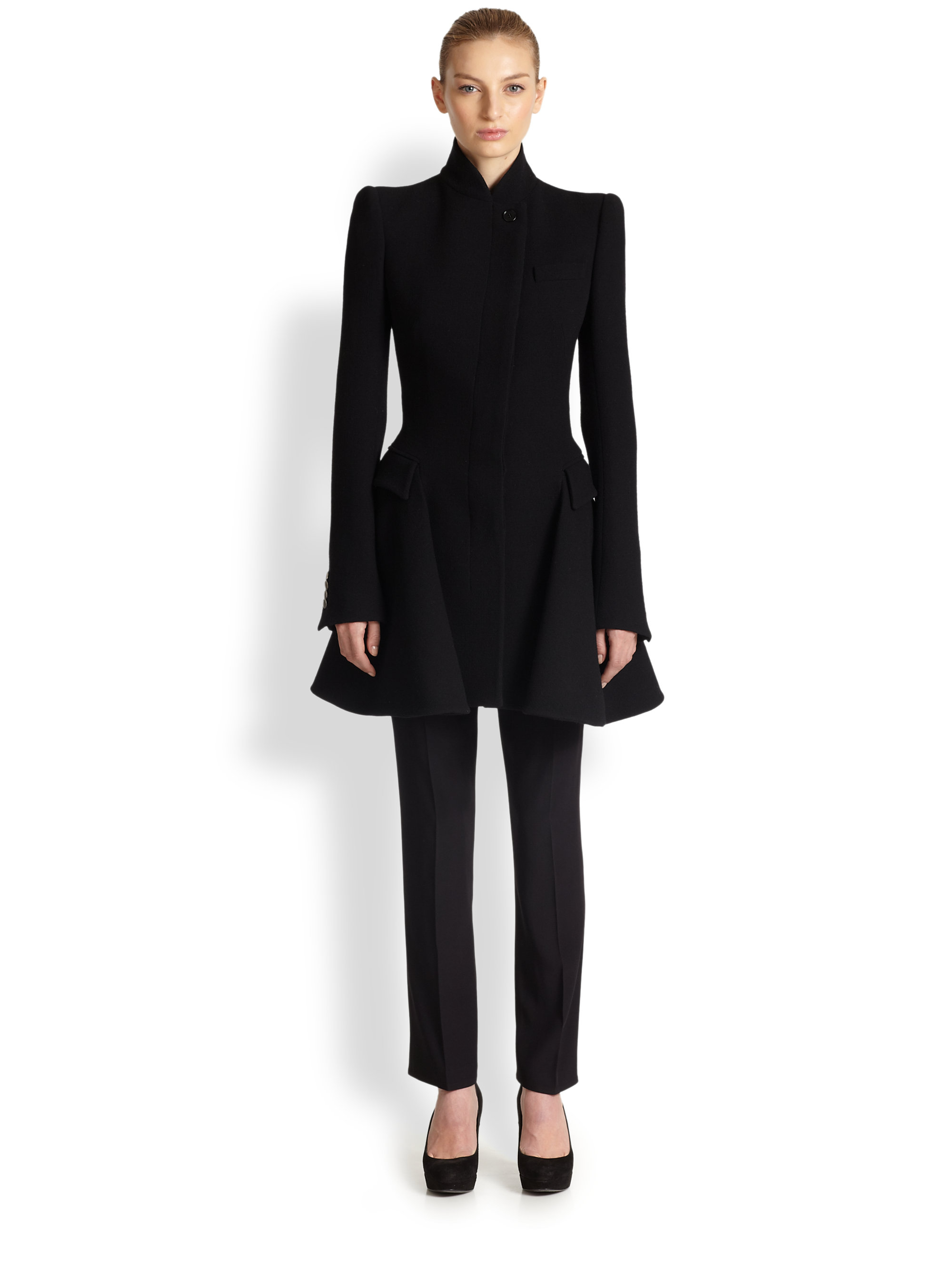 Alexander mcqueen Wool Coat Dress in Black | Lyst
