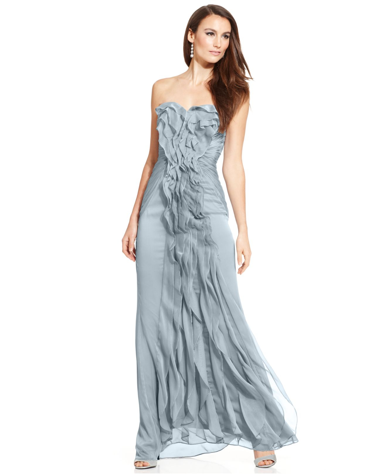 Adrianna Papell Strapless Pleated Gown In Slate Blue Lyst