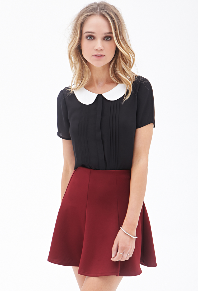 Forever 21 Pleated Peter Pan Collar Top in Black