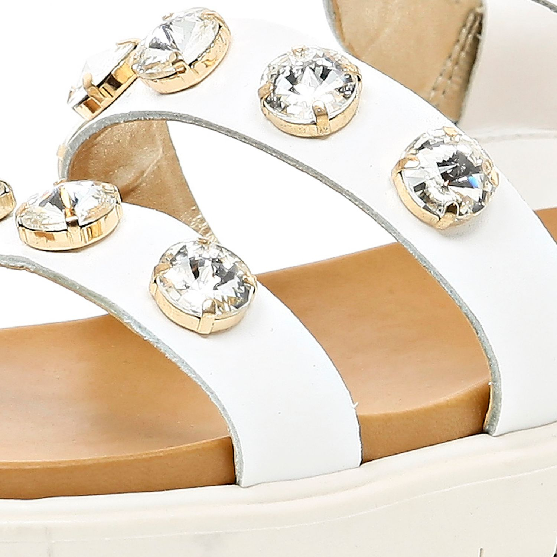 95b81082999 River Island White Gem Stone Embellished Flatform Sandals in White ...