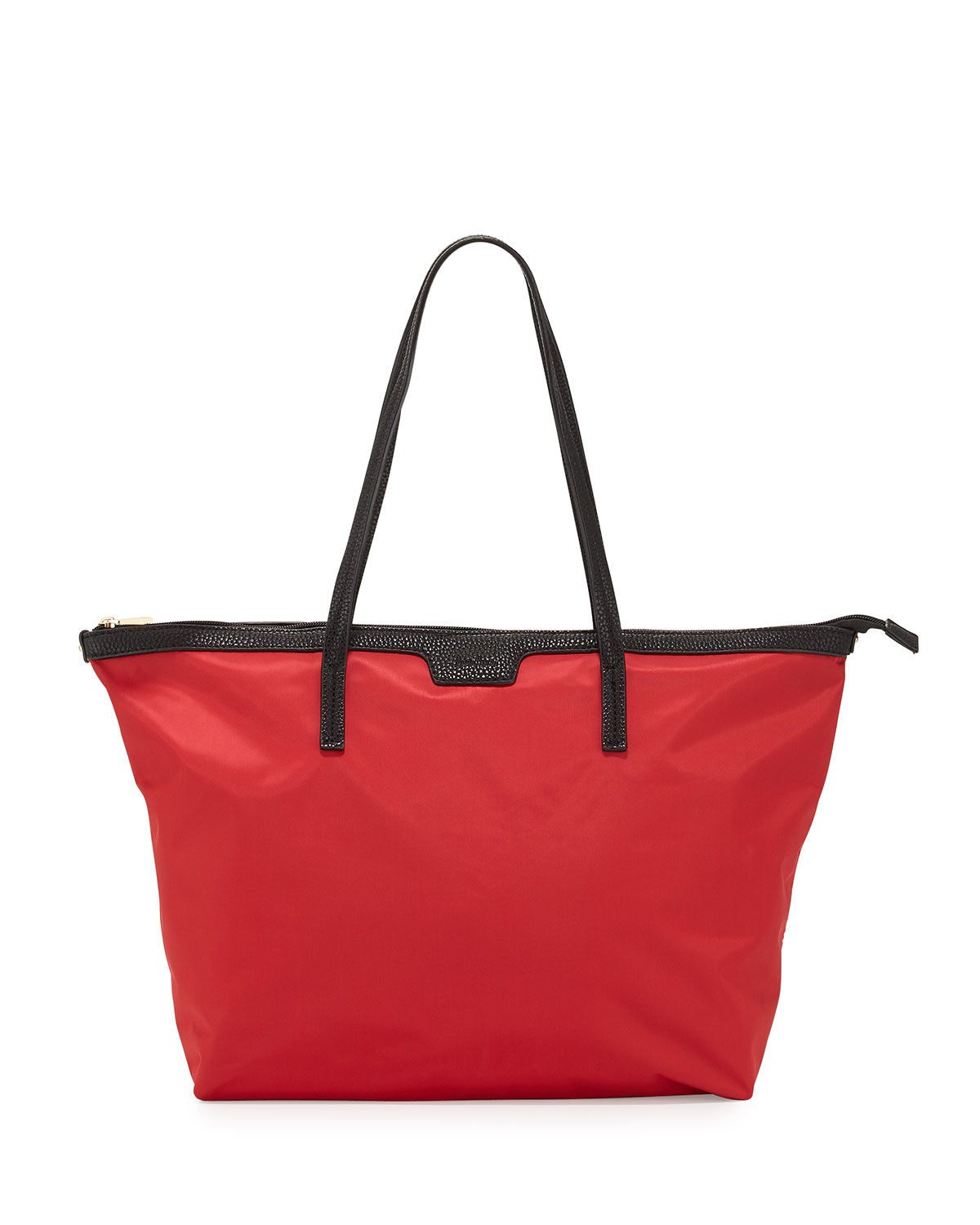 Neiman marcus Miley Nylon Zip-top Tote Bag in Red | Lyst