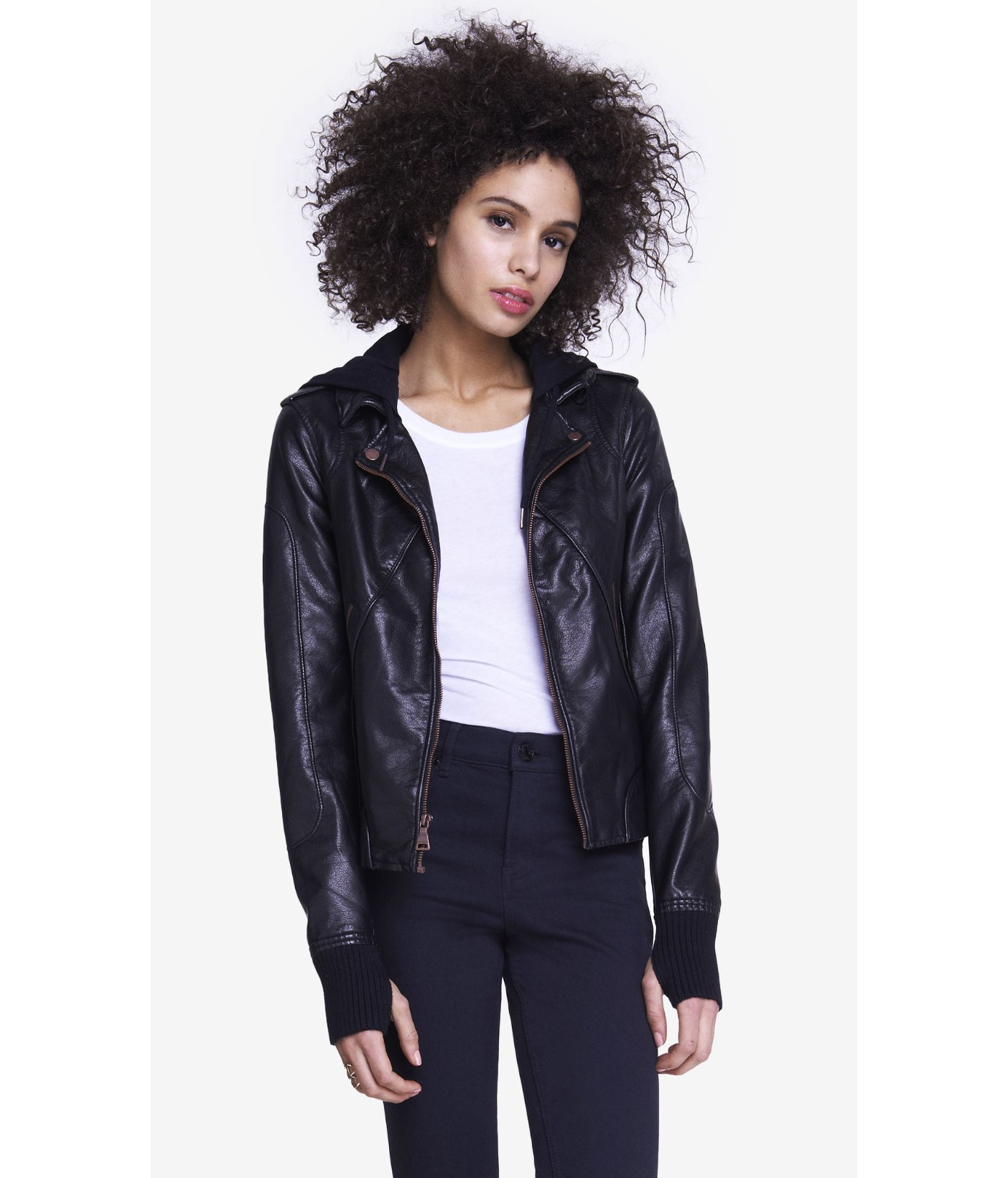 Lyst Express Hooded Bomber Jacket In Black