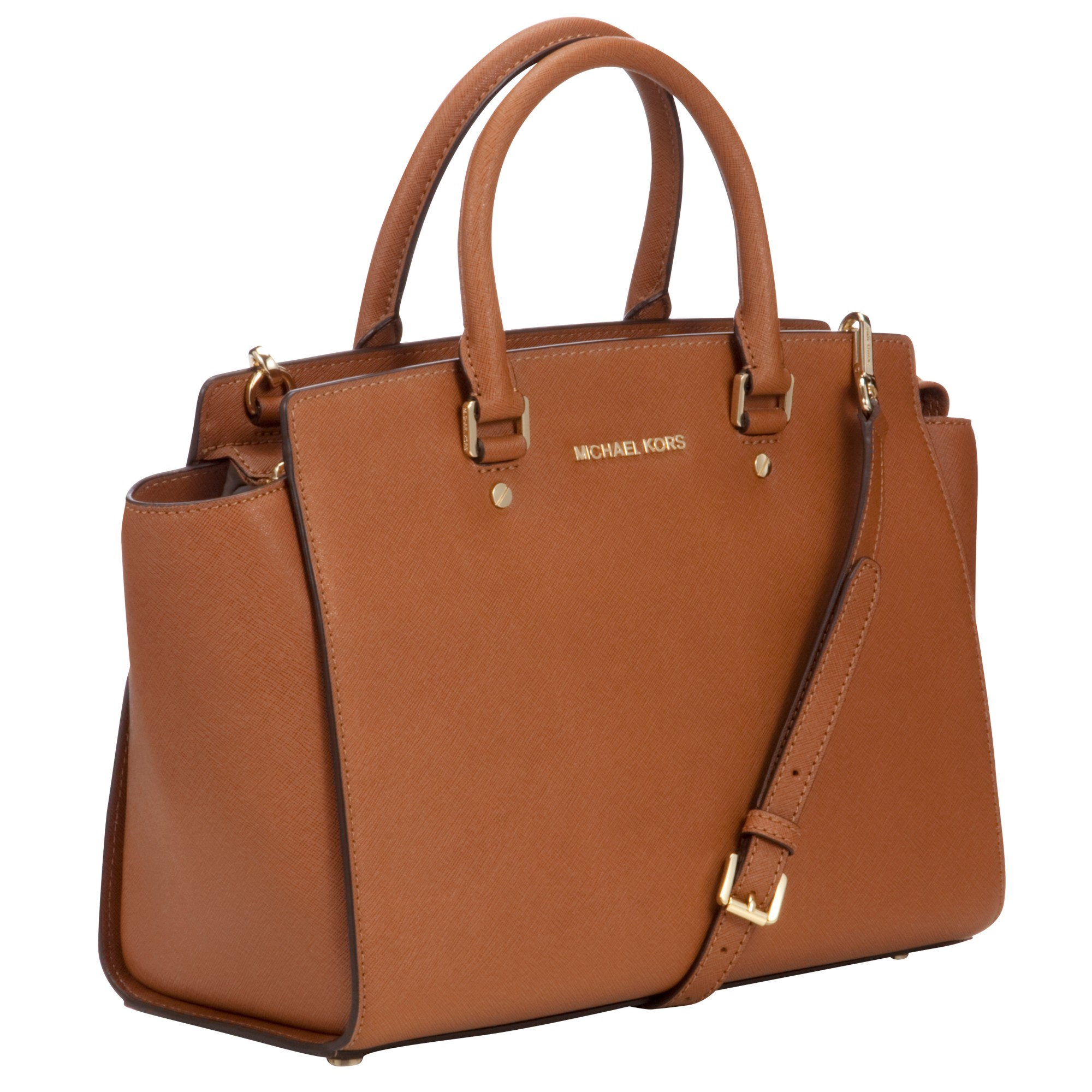 18eed65c63ffd3 sale michael michael kors selma leather satchel bag in brown lyst 15a01  ccb6a