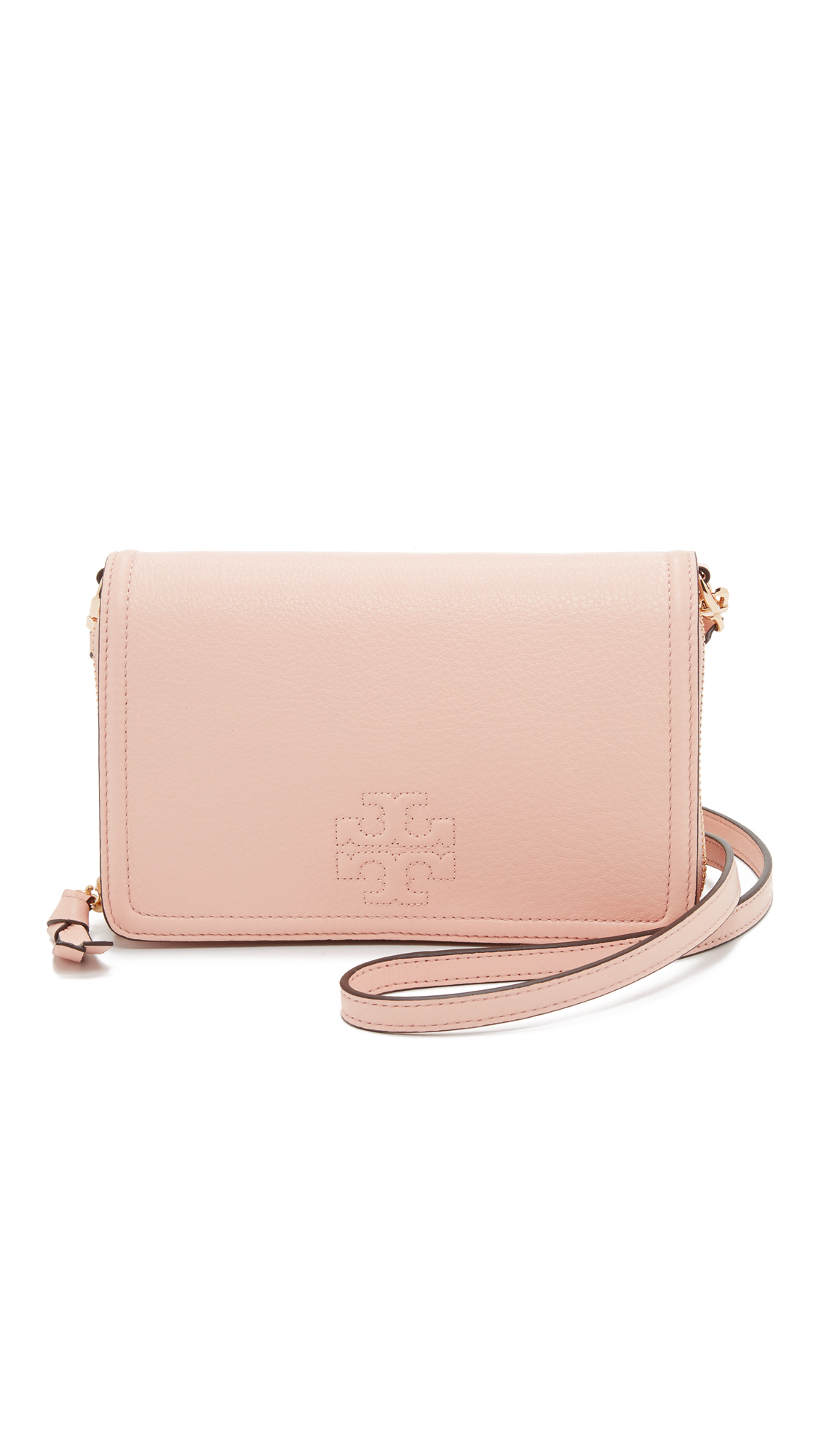 6db1eb9d0a7 Tory Burch Thea Flat Wallet Cross Body Bag in Pink - Lyst