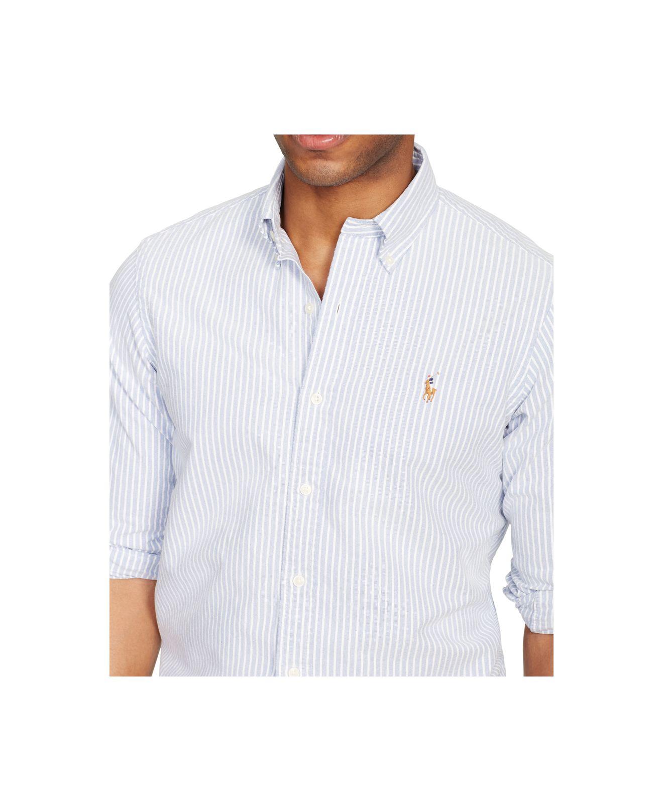 63b1a19d10e58 top quality lyst polo ralph lauren slim fit striped stretch oxford shirt in  a842f 7cb22