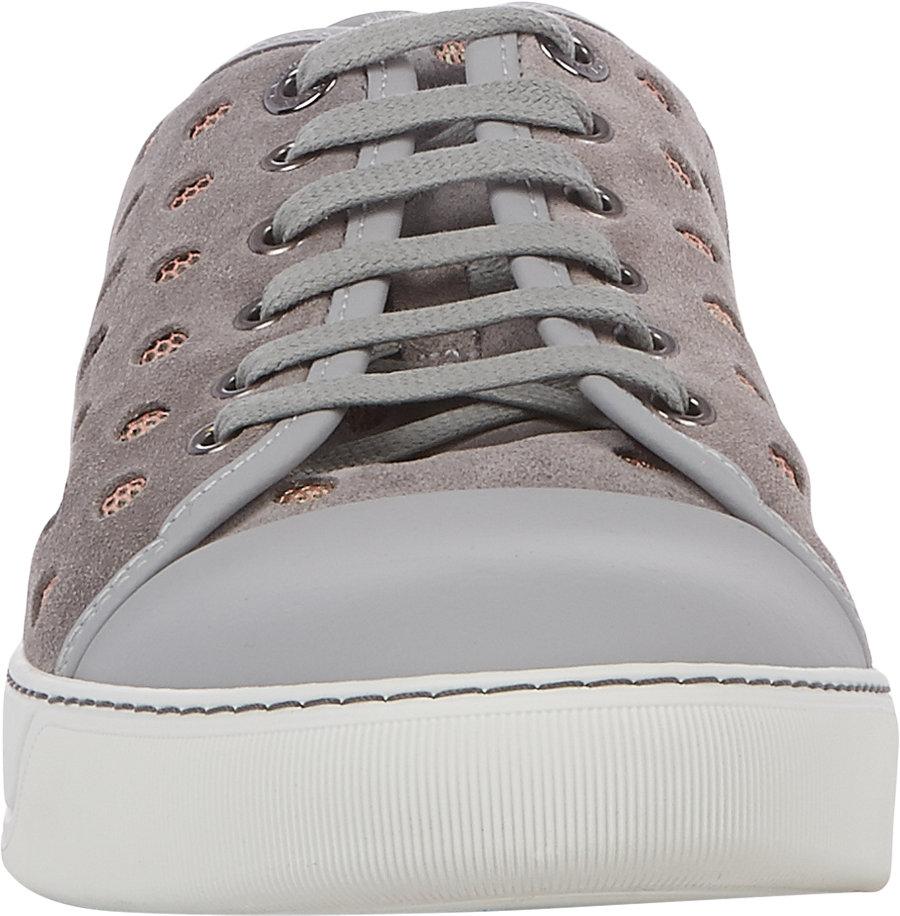 Lyst - Lanvin Cap-toe Perforated Sneakers in Gray for Men