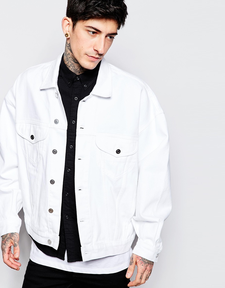 White Jean Jacket Mens | Outdoor Jacket