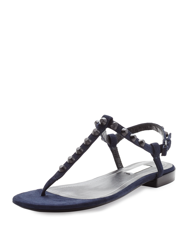 9b955bcd4910 Lyst - Balenciaga Studded Suede Thong Sandal in Black
