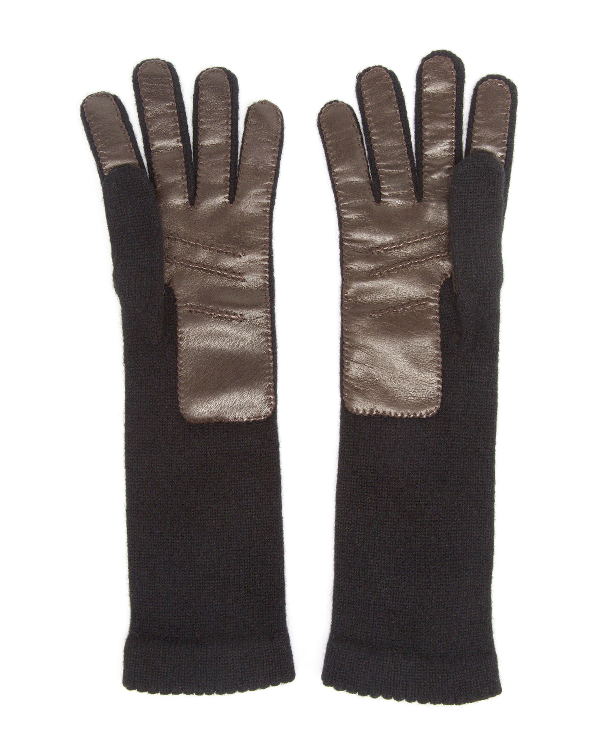 Knitting Pattern Cashmere Gloves : Inverni Knitted Cashmere And Leather Gloves in Black Lyst
