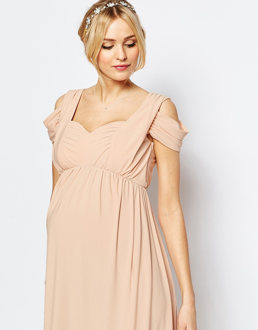 asos wedding drape cold shoulder maxi dress in blue lyst