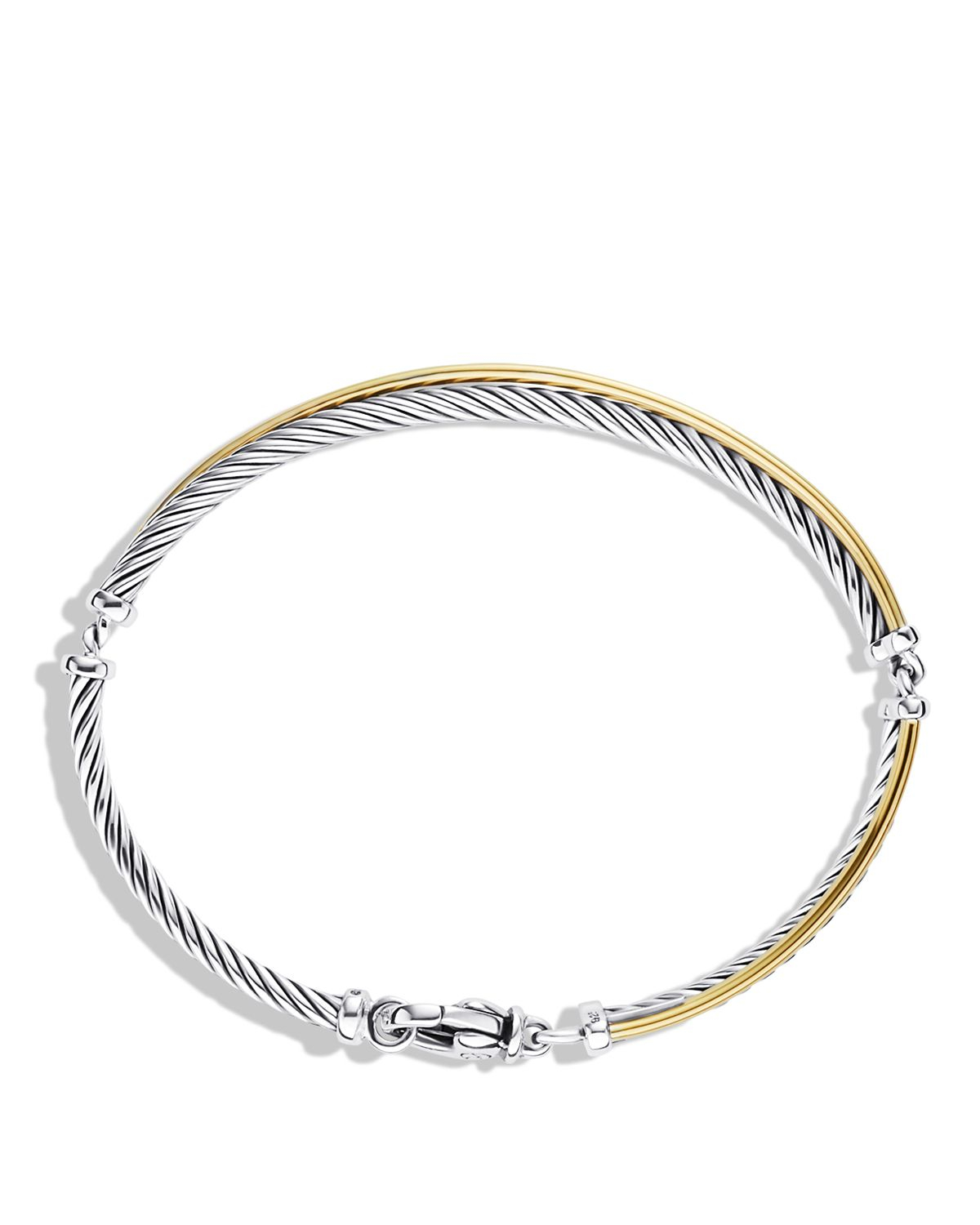 David Yurman Charm Bracelet: David Yurman Crossover Bracelet With Gold In Metallic