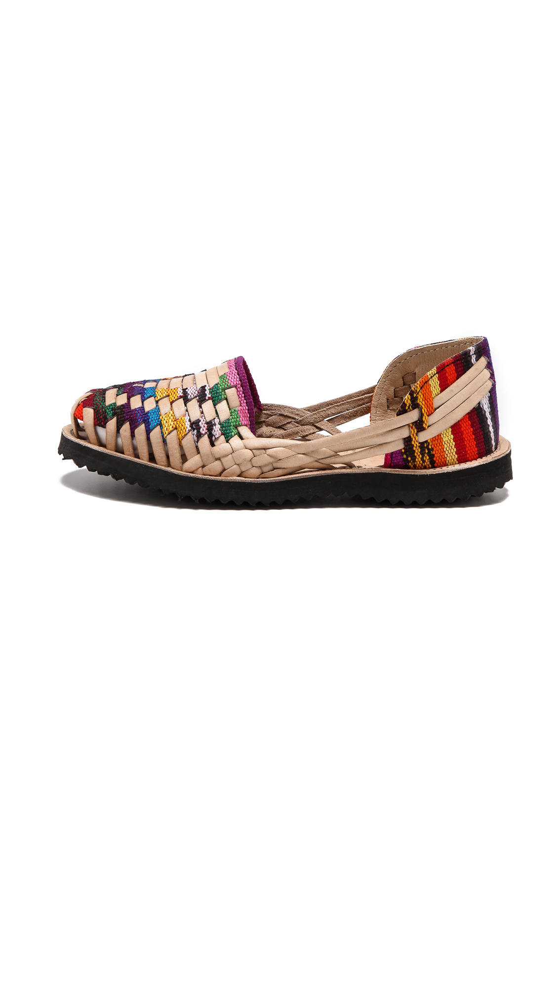 7155d8876a1b Lyst - Ix Style Woven Leather Huarache Flats - Traditional Mayan in ...
